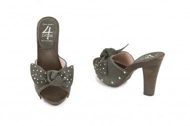 Heeled clog mule bow and...