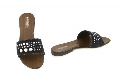 Flat slide on sandal with...