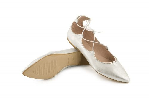 Leather lace-up ballet flat...