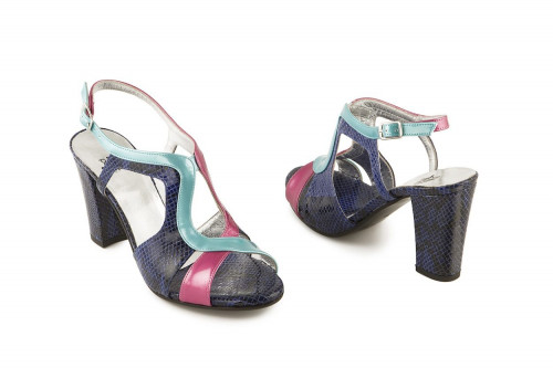 Multicoloured block heel...