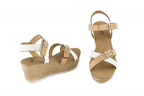 Leather wedge sandal with...