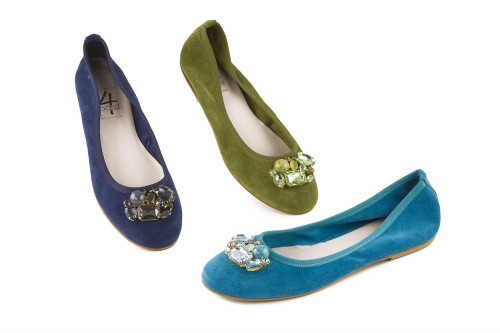 Suede jeweled ballet flat 4...