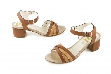 Bicolor block heel sandal 4...