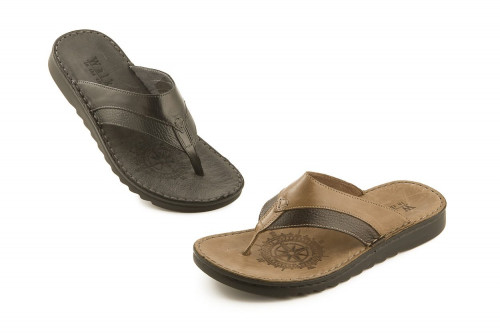 Leather thong slide sandal...