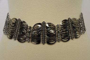 Metal belt with rhinestone...