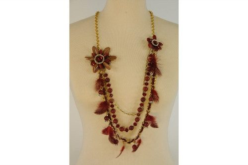 Gold and burgundy necklace...