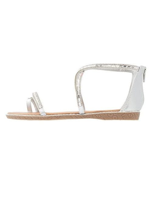 Zipped post-toe sandal with...