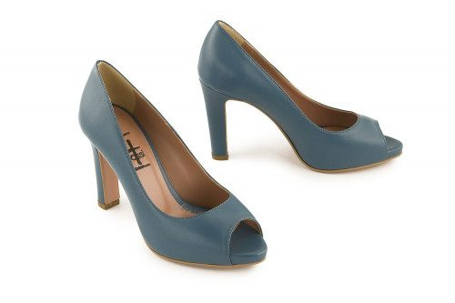 Leather peep toe pump with...