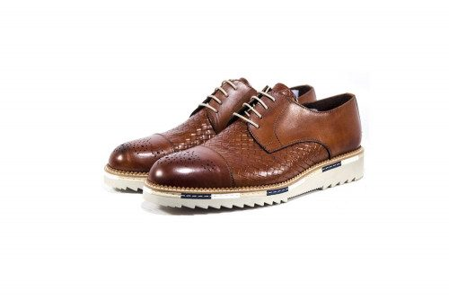 Woven printed leather shoe...