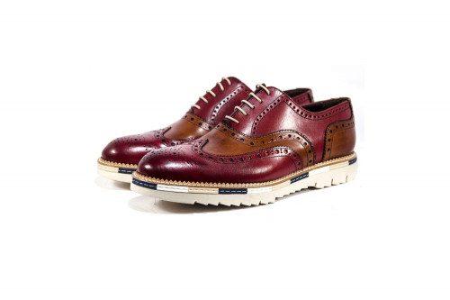 Bicolor genuine leather...