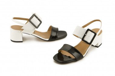 Bicolor sandal with buckle...