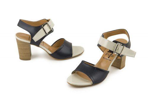 Bicolor ankle strap sandal...