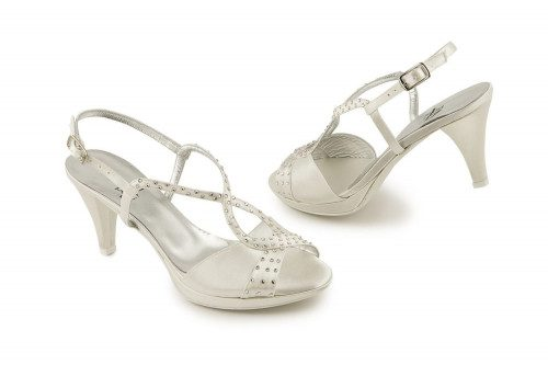 Ivory satin sandal with...