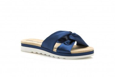 Satin slide sandal with...