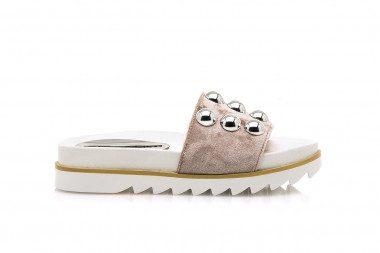 Studded velvet slide sandal...