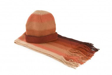 Striped knit scarf and hat...