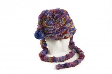 Knit rex rabbit fur hat...