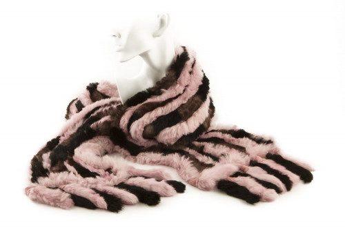 Fringed knit rabbit fur...