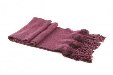 Knit fringe pom pom scarf...