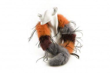 Striped blue fox fur collar...