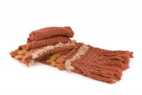 Knit fringe scarf with real...