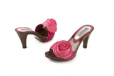 Heeled clog mule with rose...